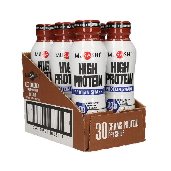 Musashi High Protein Shake Drink Iced-Chocolate 375ml Box Of 6