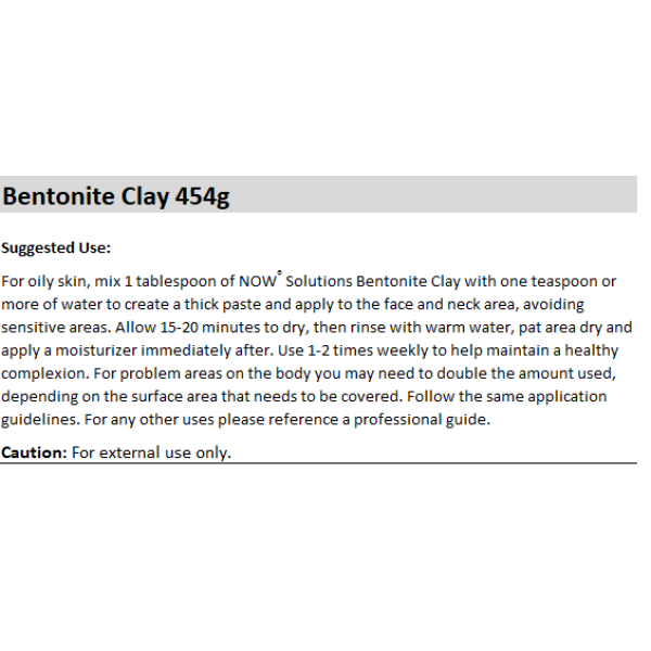 Now Foods Bentonite Clay Powder 454g