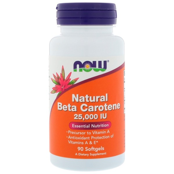 Now Foods Beta-Carotene Natural 25,000iu from Algae 90 Softgels