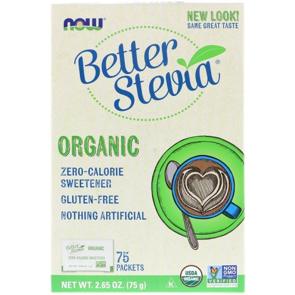 Now Foods BetterStevia Organic 75 Packets per Box