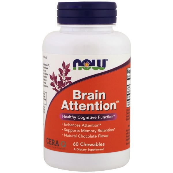 Now Foods Brain Attention Natural Chocolate Flavor 60 Chewables
