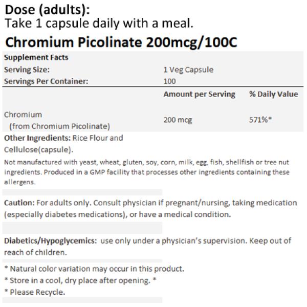 Now Foods Chromium Picolinate 200mcg 100 Capsules