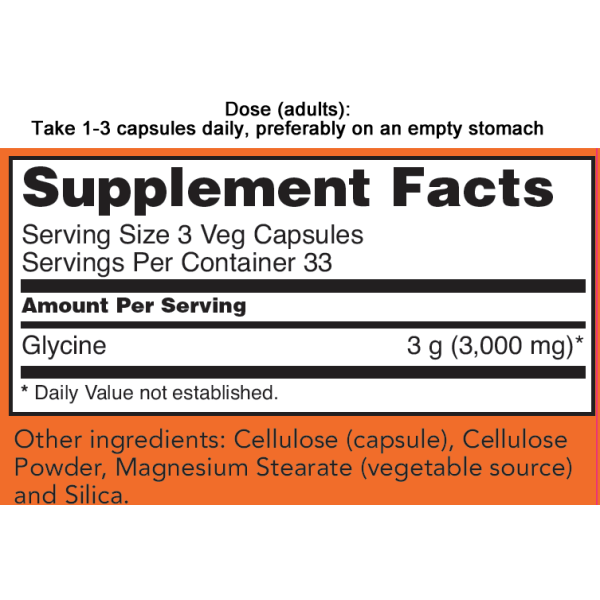 Now Foods Glycine 1000mg 100 Capsules