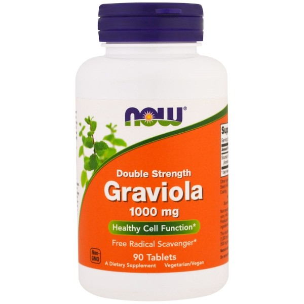 Now Foods Graviola Double Strength 1000mg 90 Tablets