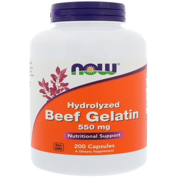 Now Foods Hydrolyzed Beef Gelatin 550mg 200 Capsules