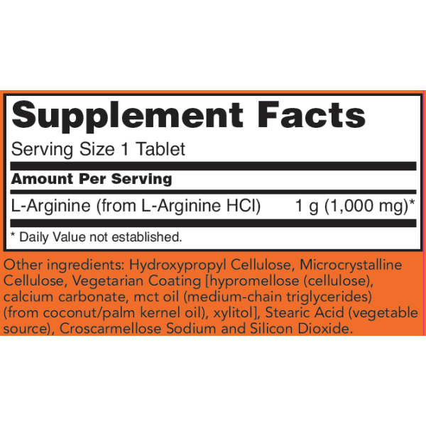 Now Foods L-Arginine Double Strength 1000mg 120 Tablets