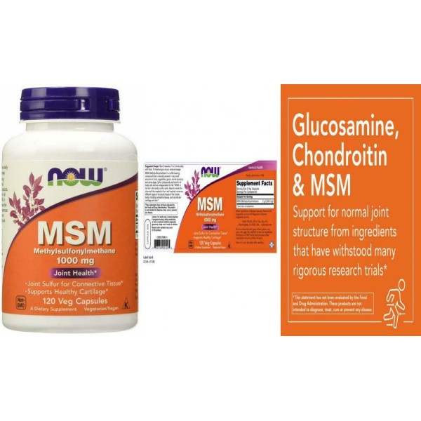 Now Foods MSM Methylsulfonylmethane 1000mg 120 Capsules