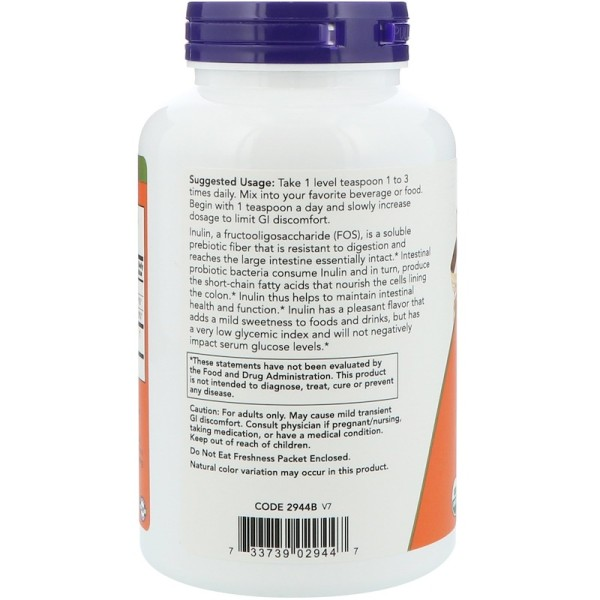 Now Foods Organic Inulin Prebiotic Intestinal Support Pure Powder 227g