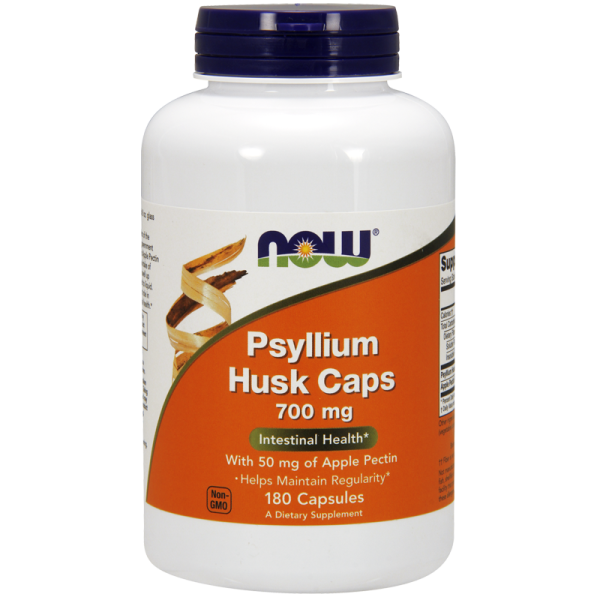 Now Foods Psyllium Husk 700mg + Apple Pectin 180 Capsules