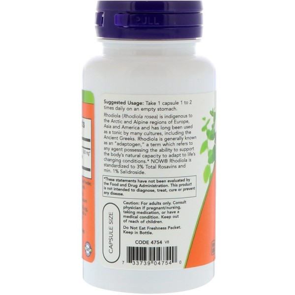 Now Foods Rhodiola 500mg Extract 3% 60 Capsules