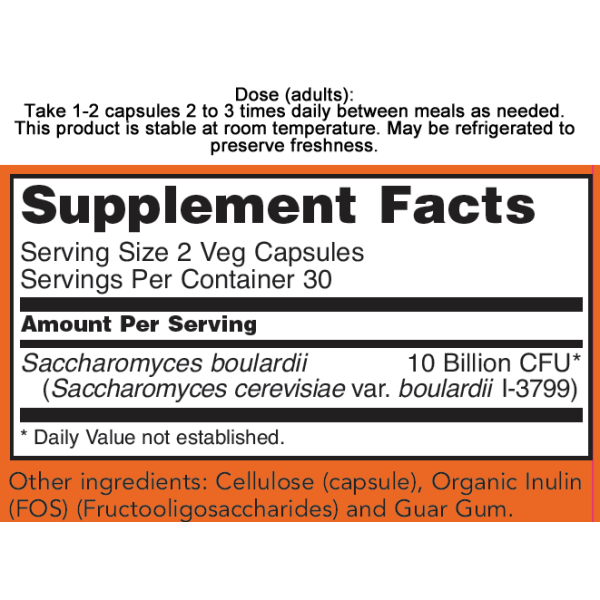 Now Foods Saccharomyces Boulardii Gastrointestinal Support 60 Capsules