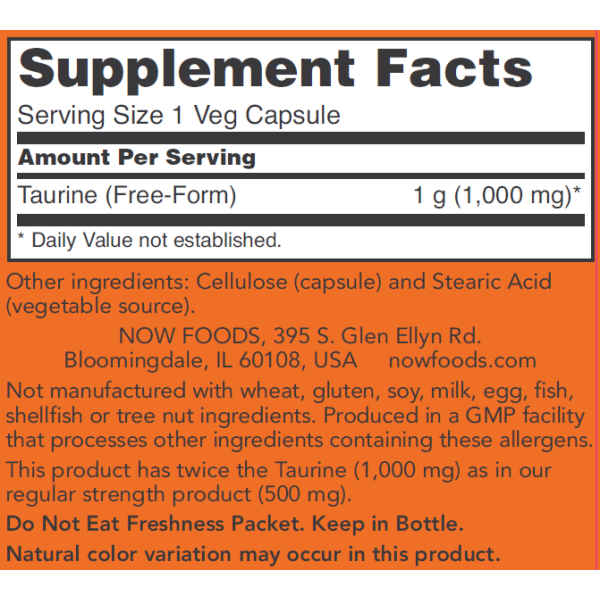 Now Foods Taurine Double Strength 1000mg 100 Capsules