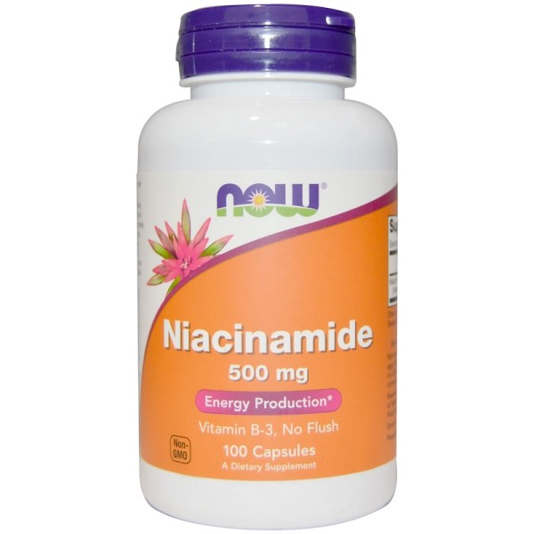Now Foods Vitamin B3 Niacinamide 500mg 100 Capsules