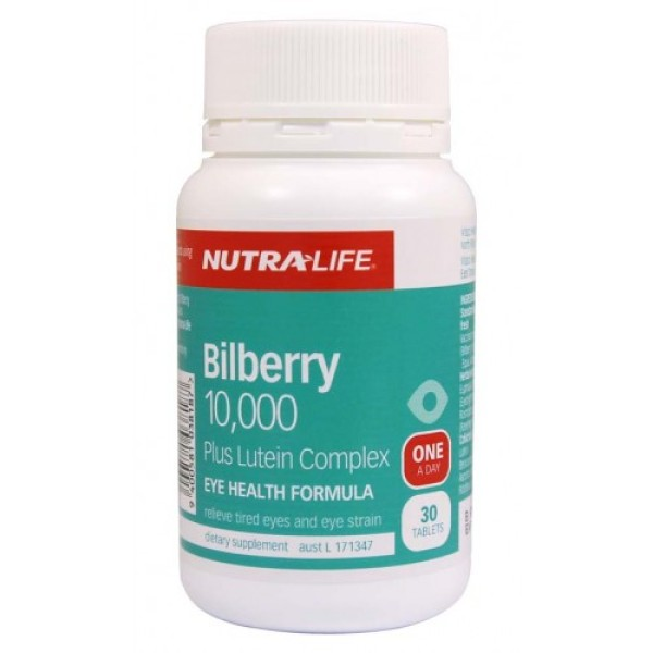NutraLife Bilberry 10000mg Plus Lutein Complex 30 Tablets