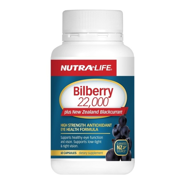 NutraLife Bilberry 22000mg Plus NZ Blackcurrant 60 Capsules