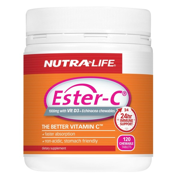 NutraLife Ester C 1000mg + Echinacea Chewables 120 Tablets
