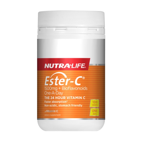NutraLife Ester C 1500mg + BioFlavonoids One-A-Day 100 Tablets