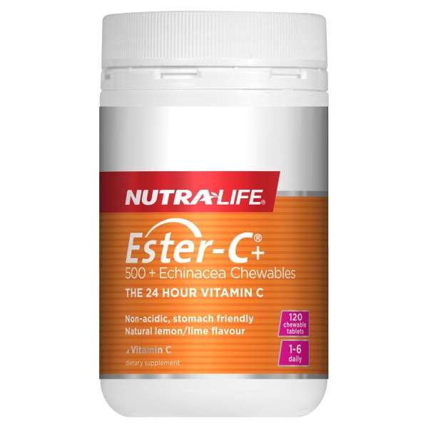 NutraLife Ester C 500mg + Echinacea Chewables 120 Tablets