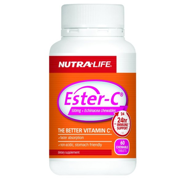 NutraLife Ester C 500mg + Echinacea Chewables 60 Tablets