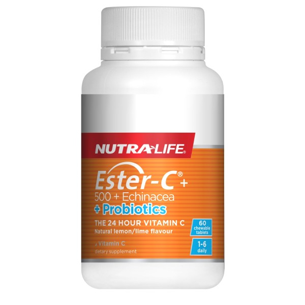 NutraLife Ester C 500mg Echinacea + Probiotics 60 Chewable Tablets