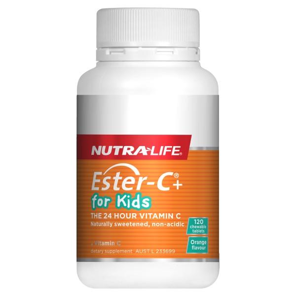 NutraLife Ester C for Kids 120 Orange Flavour Chewable Tablets