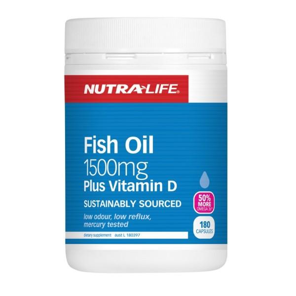 NutraLife Fish Oil 1500mg Plus Vitamin D 180 Capsules