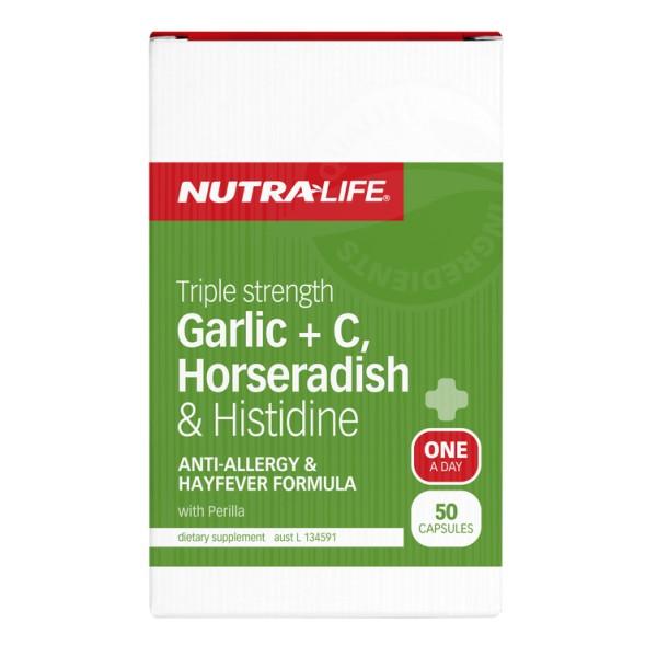 NutraLife Garlic + C, Horseradish & Histidine Triple Strength 50 Capsules