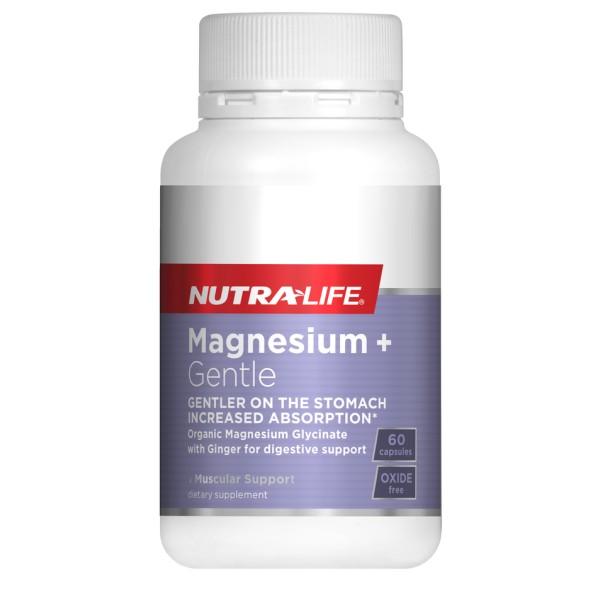 NutraLife Magnesium Glycinate + Gentle 60 Capsules