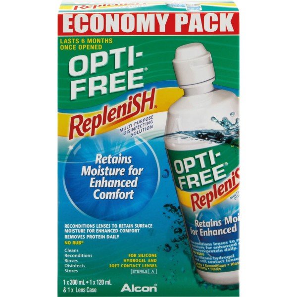 Opti Free Replenish Contact Lens Solution Economy Pack 300ml + 120ml