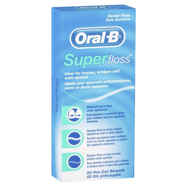Oral B Super Floss Unwaxed 50 Pre-Cut Strands