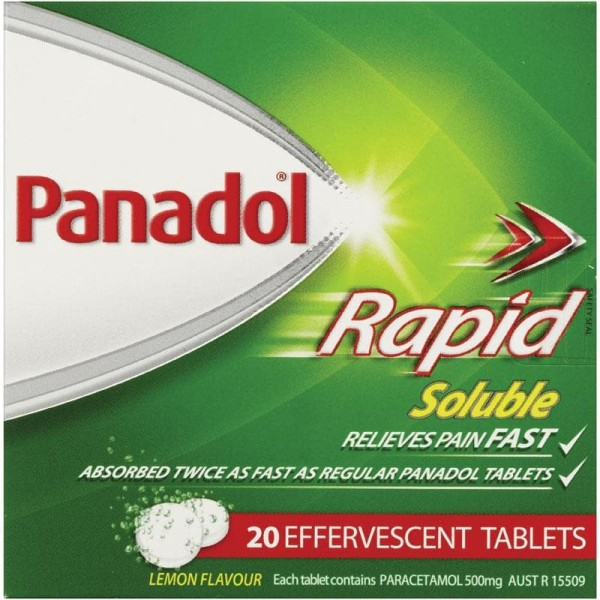 Panadol Paracetamol Rapid Soluble 20 Effervescent Tablets