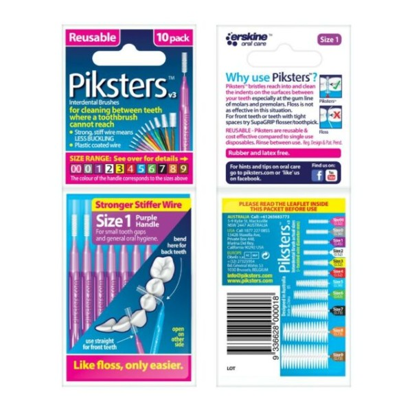 Piksters Interdental Toothbrushes - Size 1 Purple (10 brushes per pack)