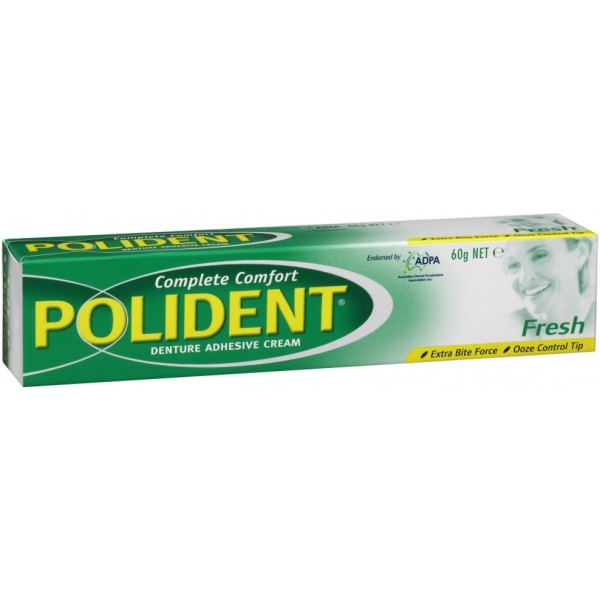 Polident Denture Adhesive Cream Fresh Mint Flavour 60g