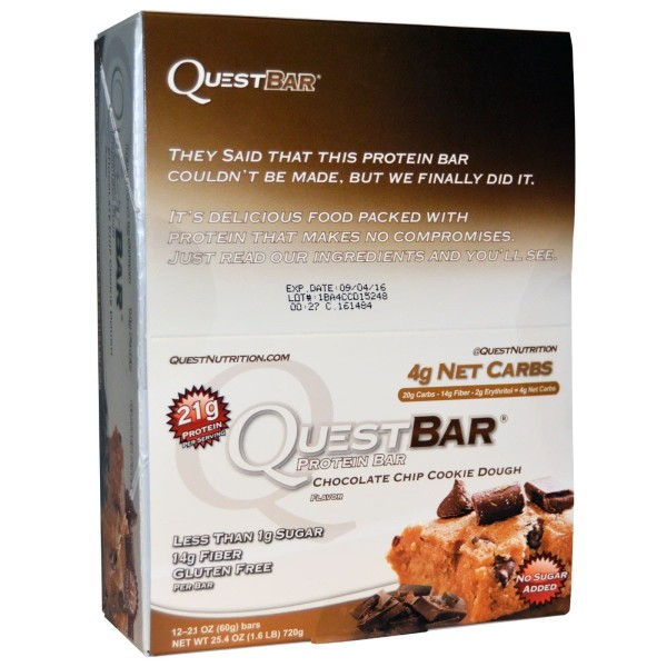 Quest Protein Bar (12 per box) - Chocolate Chip Cookie Dough