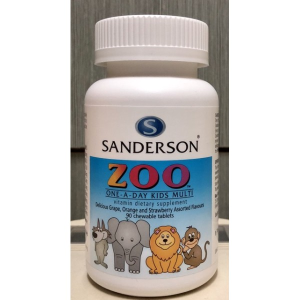 Sanderson Zoo Kids Multi Chewable Assorted Flavours 90 Tablets