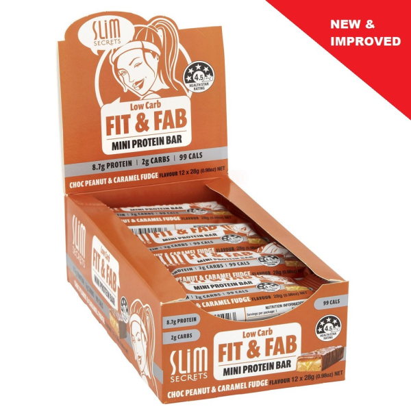 Slim Secrets Fit & Fab Chocolate Peanut & Caramel Fudge Bar 28g Box Of 12