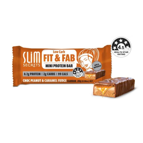Slim Secrets Fit & Fab Chocolate Peanut & Caramel Fudge Bar 28g