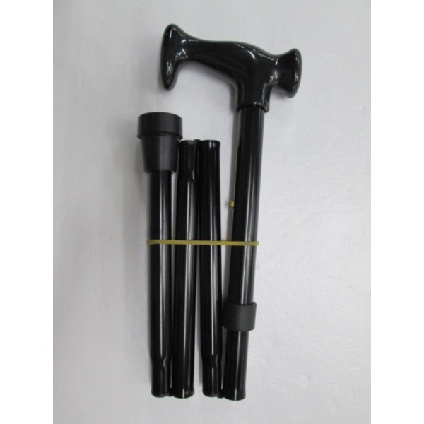 Surgical Basics Aluminium Foldable & Adjustable Walking Stick Black 82-92cm