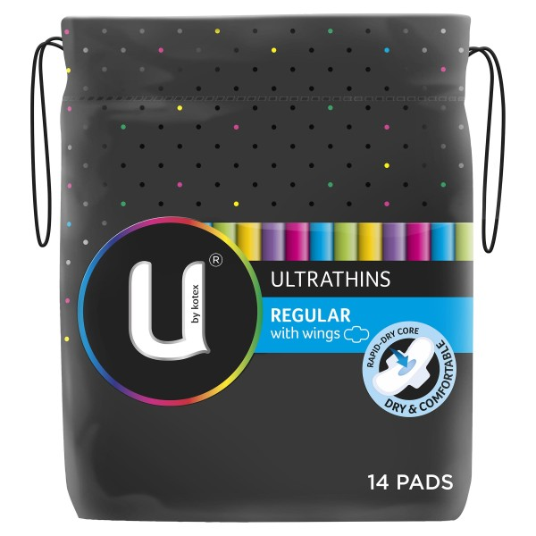 U By Kotex Ultrathins Pads Regular Wings 14s