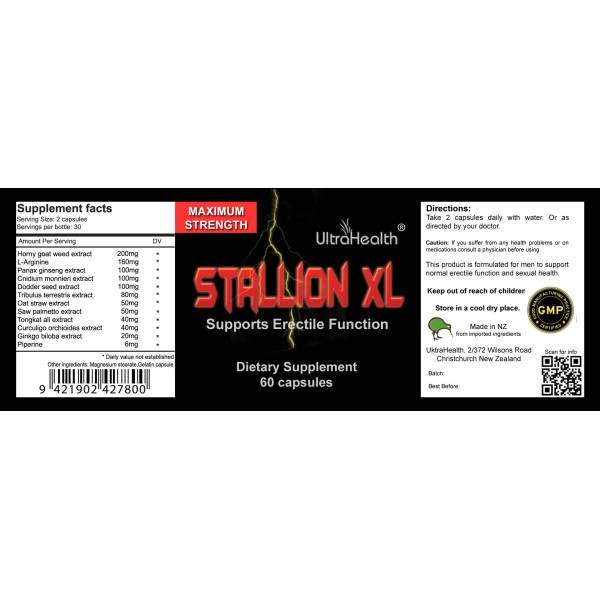 Ultra Health Stallion XL Erectile Function Support 60 Capsules